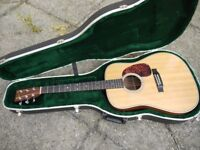 Martin HD-28 acoustic guitar fitted with Fishman Matrix Infinity pick-up and with fitted case