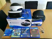 PlayStation VR headset + PlayStation Camera + 3 games and protective case boxed and complete
