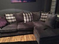 Velvet feel corner sofa