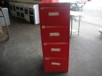 Red in colour standard size filing cabinets.