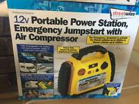 *NEW* 12V PORTABLE POWER STATION, EMERGENCY JUMPSTART WITH AIR COMPRESSOR