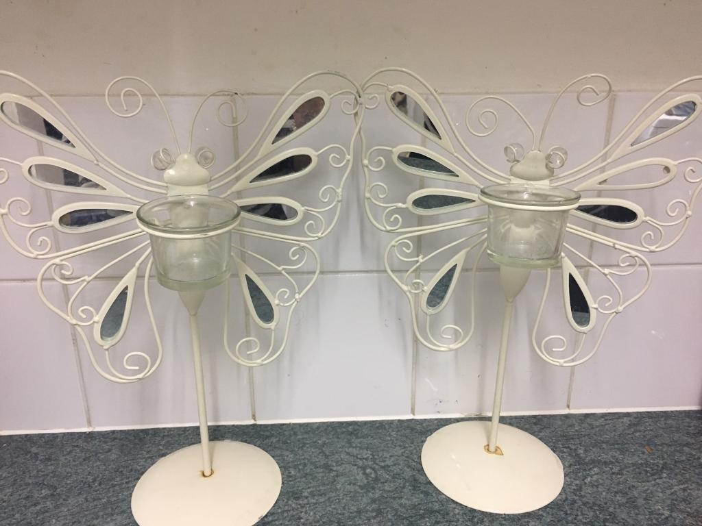 2 butterfly candle holders