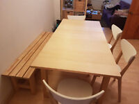 IKEA EXTENDABLE DINING ROOM TABLE 4 CHAIRS AND BENCH SEAT £150ono
