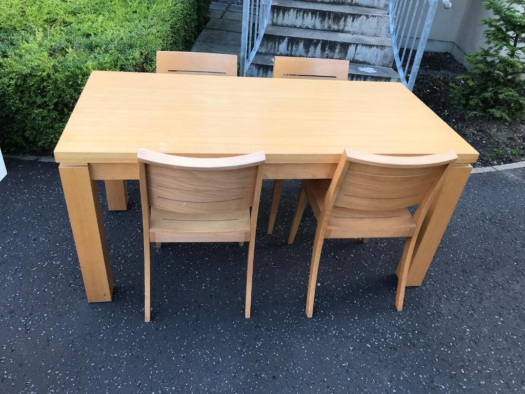 Beechwood dining room table with 4 chairs excellent condition £75