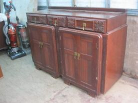 VINTAGE STURDY ORNATE SIDEBOARD. PAIR OF TWIN ORNATE UNUSUAL DOORS. VERSATILE LOCATION. DELIVERY