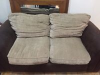 2 seater, fabric, beige,brown sofa