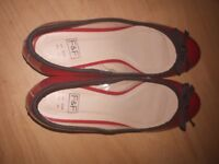 Ladies red patent shoes as new worn only once