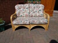 Bamboo cane two-seater settee