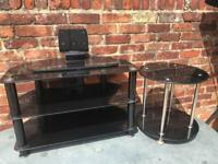 Black glass furniture tv stand side table