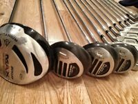 Full set of 14 golf clubs with Callaway bag - great condition