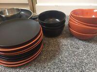 Ikea Orange & Black Plates & Bowls for Sale
