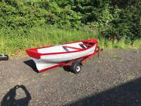 14 ft fibreglass darragh boat trailer and oars