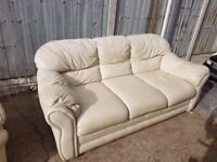 2 CREAM 3 SEATER LEATHER SOFAS FREE TO COLLECT