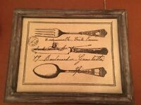 Wood framed hessian kitchen utensil picture from the USA