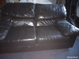 Black leather Settee's. 1 x 3 seater and 2 x 2 seaters.