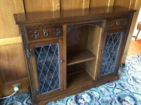 Old Charm Light Oak Low Bookcase with Leadlight Doors and Storage Drawers
