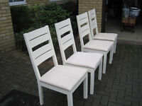 White Wood Dining Room Chairs, 4