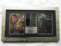 Limited edition framed lord of the rings double film cell.