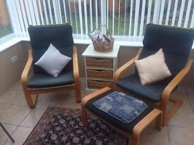Ikea Poang Chairs with footstool