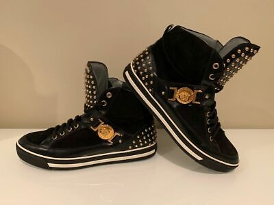 VERSACE Black Leather Gold Studded High Top Sneakers Mens 8 8.5 EU 41 Authentic!