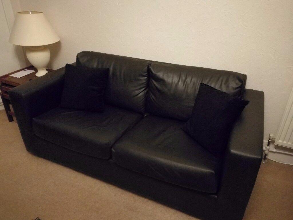 Faux Leather Black Sofa Set