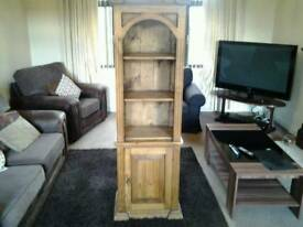Mexican pine display case with cupboard.