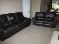 2 seater and 3 seater brown leather sofas with recliners, both in good condition