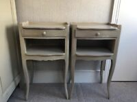 Pair of French style shabby chic bedside tables