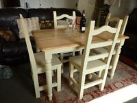 "Shabby Chic Pine Dining Table and 4 Chairs painted in F&B ""string"""