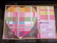 *NEW* coloured gift boxes. Set of 3 different sizes. All in shrink wrap. 2 x oblong 1 x heart shape