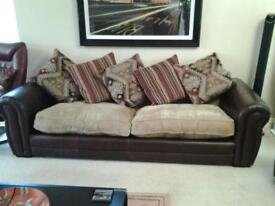 furniture village leather and cloth 3 seater and 2 seater sofas