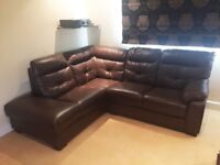 DARK CHOCOLATE BROWN LEATHER CORNER CHAISE COUCH SOFA CONCORDE (DELIVERY AVAILABLE)