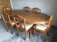 Ducal Victorian Pine Dining table and 6 chairs
