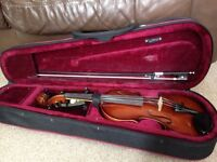 Half size violin and accesories from Stringers, Edinburgh