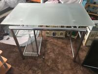 Chrome and frosted glass desk