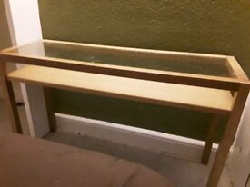 Wooden/glass top console table
