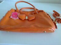 orange handbag with detach shoulder strap brand new