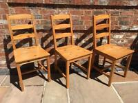Three Ikea Solid Pine Dining Chairs