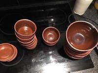Brown ceramic crockery set