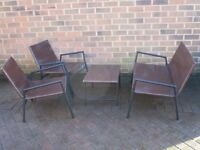 Rattan Garden Set with Bench Chairs and Table