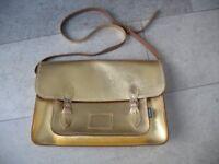 Laptop School Bag Large Zatchels Gold Metallic Satchel Cross Body RRP £95 Clean Good Condition