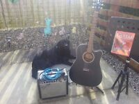 WASHBURN SEMI-ACOUSTIC GUITAR, MODEL No WD7SCE BM, fender Amp & music stand