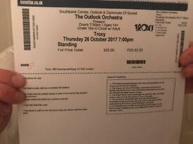 2x tickets for The Outlook Orchestra, Troxy, Thurs 26th October 7pm