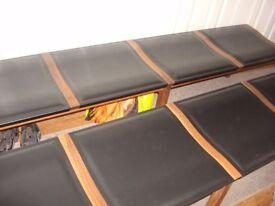 Leather/Mahogany Dining Room Benches (pair)