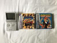 Silver GameBoy Advance SP including 2 games and charging cable