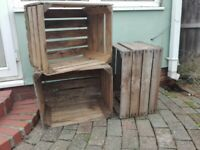 3 Apple crates/ wooden boxes
