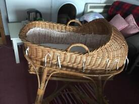 Beautiful wicker cradle with stand and lining
