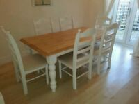 Exquisite 6ft x 3ft Farmhouse Table and Chair Set-Cream-Grey-White