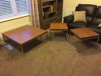 Ex-showhome teak and chrome coffee tables