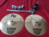 "Sabian 10"" Pro Mini Hi-Hats plus X-Hat holder and clamp"